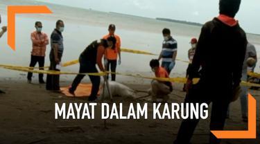 Warga dihebohkan dengan penemuan mayat dalam karung di Pandeglang, Banten.