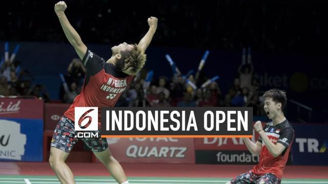 Ganda Putra Indonesia Kevin Sanjaya/Marcus Gideon berhasil mempertahankan gelar juara Indonesia Open setelah mengalahkan Mohammad Ahsan/Hendra Setiawan di All Indonesia Final.