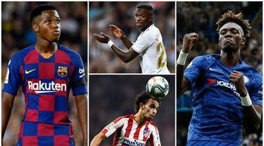 Berikut ini tujuh pemain muda yang menjadi harapan baru bagi klubnya. Diantaranya adalah Ansu Fati, Tammy Abraham dan Joao Felix. (Foto Kolase AFP)