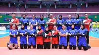 Timnas Indonesia kalah 0-3 dari Tiongkok pada laga perdana Pul D Kejuaraan Bola Voli Putri Asia ke-20 Jamsil Indoor Gymnasium, Seoul, Korea Selatan, Senin (19/8/2019). (foto: PBVSI)