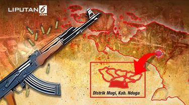 Banner Infografis Baku Tembak TNI Vs KKB Papua