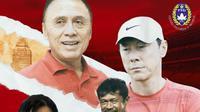 Momen PSSI 2020: Iwan Bule, Shin Tae-yong, Ratu Tisha dan Indra Sjafri (Bola.com/Adreanus Titus)