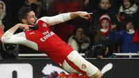 Selebrasi striker Arsenal, Olivier Giroud. (Reuters / John Sibley)