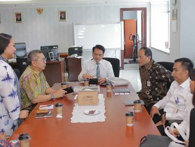 Suasana audensi jajaran SCM/Emtek Group dengan Kementerian Keuangan di Gedung Djuanda 1, Jakarta, Selasa (1/10/2019). Pertemuan tersebut membahas kerja sama di bidang sektor media. (Liputan6.com/Faizal Fanani)