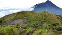 Pemandangan Gunung Merbabu di Selo, Boyolali, Jawa Tengah, Minggu (3/2). Gunung dengan tinggi 3145 mdpl ini dapat ditempuh dengan waktu 7 - 8 jam berjalan kaki. (Merdeka.com/Arie Basuki)