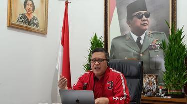 Sekretaris Jenderal (Sekjen) DPP PDI Perjuangan Hasto Kristiyanto saat webinar peringatan Bulan Bung Karno dengan tema Pancasila dan Keadilan Sosial. (Istimewa)