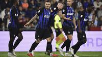 Pemain Inter Milan merayakan gol Mauro Icardi ke gawang SPAL pada laga Serie A (7/10/2018). (AFP/Miguel Medina)