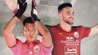 Dua pemain Persija Jakarta menggunakan jersey terbaru: Shahar Ginanjar dan Marko Simic. (Bola.com/Dody Iryawan)