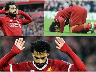 Berikut ini ragam selebrasi gol yang khas dari Mohamed Salah selama memperkuat Liverpool.