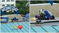Pekerja bangunan laksanakan shalat (Sumber: Facebook/Phoebe Olivia)