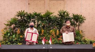 Menteri Koordinator Bidang Perekonomian Airlangga Hartarto memimpin Pertemuan Tingkat Menteri Enam Kelompok Kerja Bilateral Singapura – Indonesia bersama Menteri Perdagangandan Industri Singapura Gan Kim Yong, di Singapura.