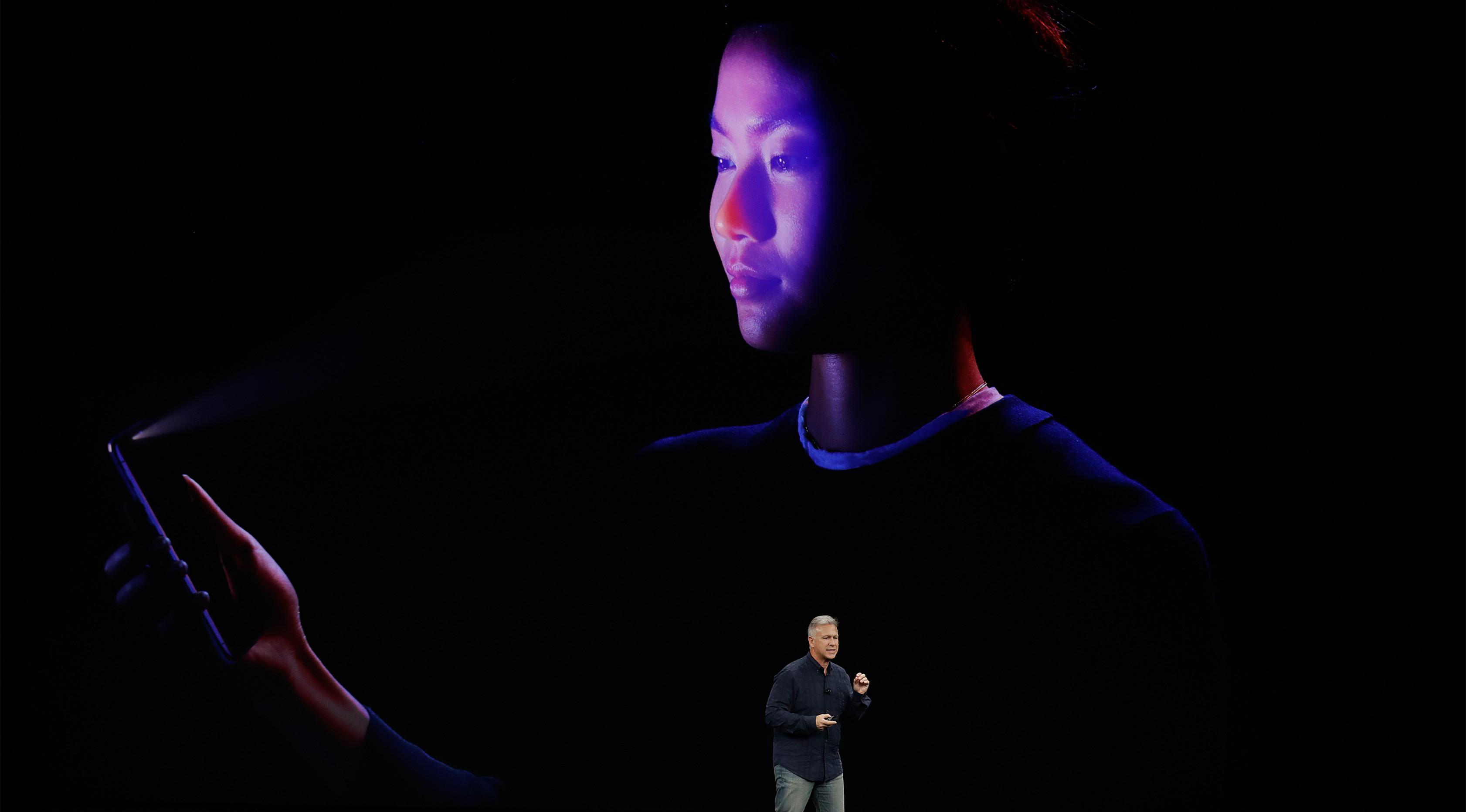 Teknologi Face ID atau pengenalan wajah iPhone X (Sumber: AP Photo/Marcio Jose Sanchez)