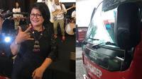 aksi nekat wanita ambil alih kemudi bus dari sopir jadi viral (foto: facebook Novita metty purba)