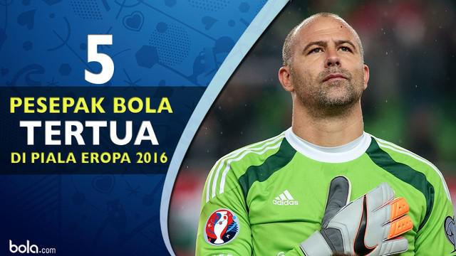 Video lima pemain sepak bola tertua yang bermain di Piala Eropa 2016, Salah satunya Gabor Kiraly pemain asal Hungaria yang berumur 40 tahun.