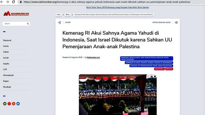 Cek Fakta. Screenshot situs soal pengakuan agama Yahudi. (Liputan6.com)