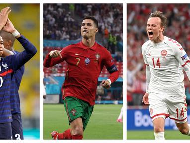 Euro 2020 (Euro 2021) segera memasuki babak 16 Besar. Para kontestan terbaik siap berlaga dalam 8 pertandingan yang akan digelar. Para pemain andalan diprediksi akan menjadi bintang dalam laga hidup mati menuju perempatfinal. Berikut 7 pemain di antaranya. (Foto: Kolase AP)