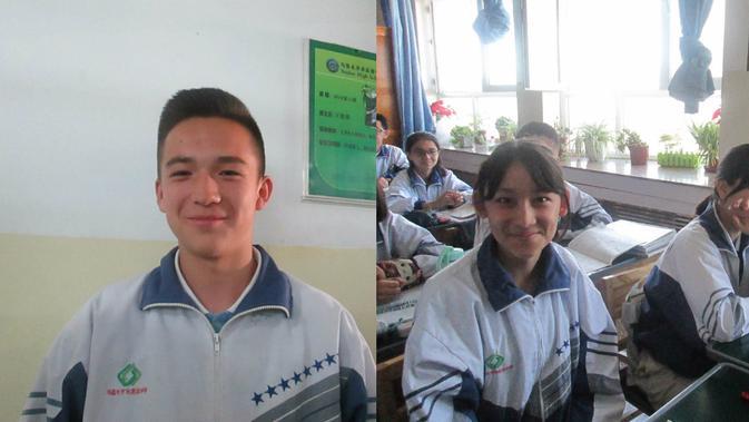 Irfan (kiri) dan Nahila (kanan), murid sekolah Urumqi, China. (Liputan6.com/Arie Mega Prastiwi)