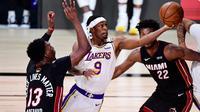 La Lakers menjuarai NBA 2020 setelah mengalahkan Miami Heat. (Douglas P. Defelice/AFP)