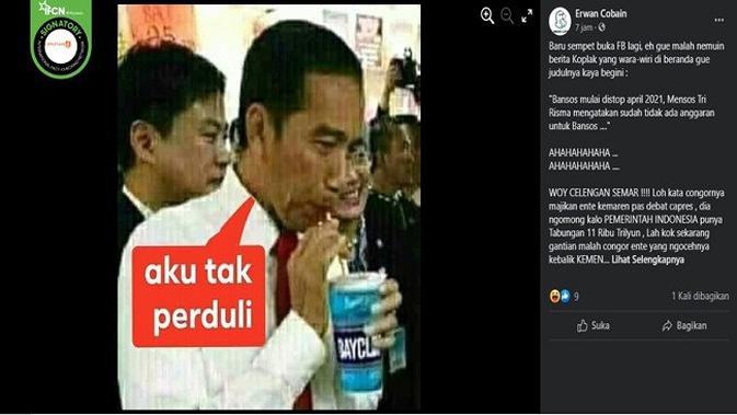 Gambar Tangkapan Layar Foto yang Diklaim Jokowi dengan Meminum Pemutih Pakaian (sumber: Facebok)