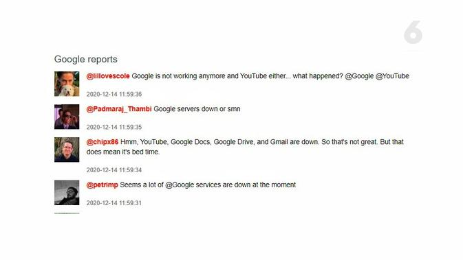 Netizen Keluhkan Google Down. Kredit: Downdetector.com