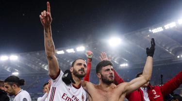 Selebrasi Pemain AC Milan Usai Singkirkan Lazio di Semifinal Coppa Italia