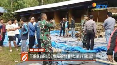 Tembok Pemandian Daun Paris Raja Berneh di Karo, Sumatra Utara ambruk, 7 mahasiswa Universitas Prima Medan tewas.