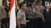 Kapolri Jenderal Idham Azis memimpin upacara sertijab Kepala Divisi Hubungan Internasional Polri dan sejumlah Kapolda di Rupatama Mabes Polri, Jakarta, Selasa (11/2/2020). Idham Azis memimpin 8 Kapolda yang dirotasi dan pejabat utama lain untuk melafalkan sumpah jabatan. (Liputan6.com/Johan Tallo)