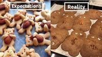 Ekspektasi vs realita buat kue kering (Sumber: boredpanda)