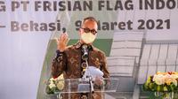 Menteri Perindustrian Agus Gumiwang Kartasasmita pada Groundbreaking Pabrik Baru PT Frisian Flag Indonesia di Cikarang, Kabupaten Bekasi, Jawa Barat, Selasa (9/3/2021).