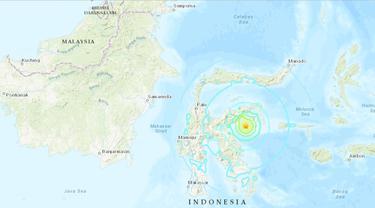 Gempa di Sulawesi Tengah 12 April 2019 berkekuatan magnitudo 6,8 menurut USGS