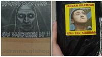 Foto nyeleneh peringatan barang di paket, kocak banget! (Sumber: Twitter/@ketombejae/@txtdarionlshop)