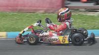 Aksi pembalap muda Qarrar Firhand Ali pada putaran 1 kejurnas Karting Eshark Rok Cup di sirkuit internasional Karting Sentul (istimewa)