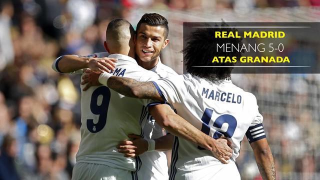 Real Madrid berhasil menang atas Granada dengan skor 5-0 di Santiago Bernabeu, Sabtu (7/1/2017)