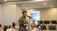 Mentan Syahrul Yasin Limpo saat saat menyapa seluruh petani di kabupaten dalam rangka Video Conference Gerakan Percepatan Tanam Padi dan Jagung serentak seluruh Indonesia, Selasa (12/5).