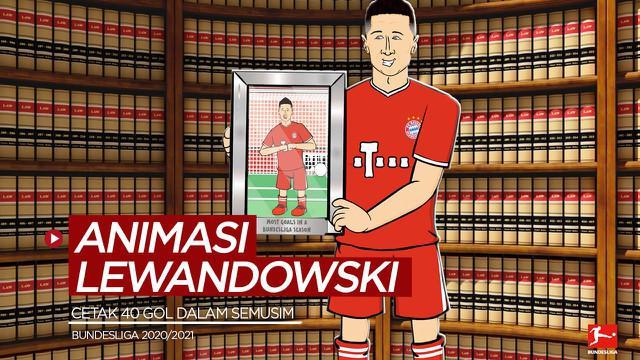 Berita video animasi kocak dari 442oons yang menampilkan bintang Bayern Munchen, Robert Lewandowski, merayakan rekor 40 gol yang dicetaknya dalam semusim di Bundesliga.