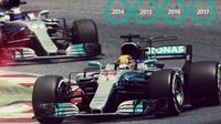 Mercedes mengunci gelar juara dunia konstruktor F1 2017 setelah Lewis Hamilton memenangi balapan GP AS di COTA, Austin, Minggu (22/10/2017). (F1)