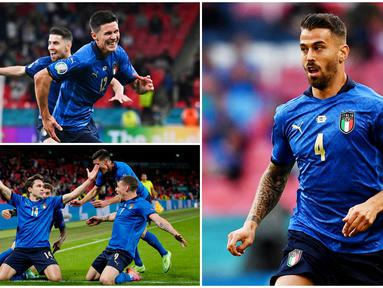 Timnas Italia sukses melangkah ke perempat final Euro 2020 usai menjalani laga sengit melawan Austria. Berikut enam anak asuh Roberto Mancini yang menjadi kunci kemenangan 2-1 Gli Azzurri atas Austria. (Foto Kolase AP dan AFP)