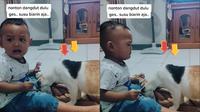 Bocah menangis usai susunya diminum oleh seekor kucing hingga habis (@romy_jayas/tiktok.com).