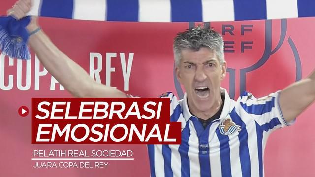 Berita video momen selebrasi emosional Pelatih Real Sociedad, Imanol Alguacil, di konferensi pers setelah juara Copa del Rey 2019/2020,