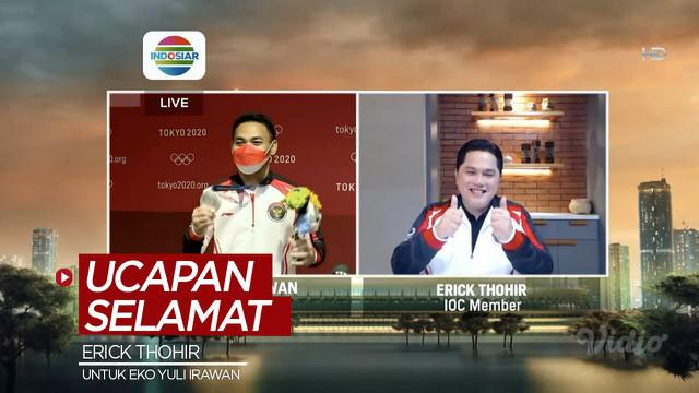 Berita video ucapan selamat dari anggota IOC yang juga Menteri BUMN, Erick Thohir, kepada Eko Yuli Irawan, atlet angkat besi Indonesia peraih medali perak Olimpiade Tokyo 2020, Minggu (25/7/2021).