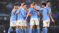 Manchester City meraih kemenangan 1-0 atas Brighton and Hove Albion pada laga pekan ke-18 Premier League di Stadion Etihad, Kamis (14/1/2021) dini hari WIB. (Laurence Griffiths/POOL/AFP)