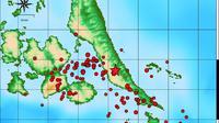 Sebaran gempa susulan di Halmahera. (Liputan6.com/Hairil Hiar/BMKG Maluku Utara)