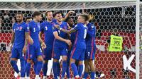 Timnas Inggris menang 4-0 atas Hungaria pada laga keempat Grup I kualifikasi Piala Dunia 2022 di Puskas Arena, Jumat (3/9/2021) dini hari WIB. (AFP/Attila KISBENEDEK)