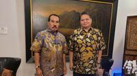 Ketua Umum Partai Golkar Airlangga Hartarto (kanan) dan politisi senior Partai Golkar Azis Samual (kiri). (Ist)