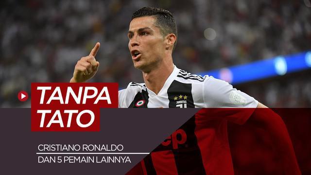Berita motion grafis 6 pesepak bola dunia yang tidak bertato, di antaranya Cristiano Ronaldo dan Kylian Mbappe.