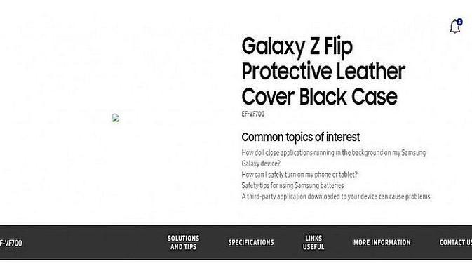 Nama Galaxy Z Flip muncul di situs web Samsung Rumania (screenshot via GSM Arena)