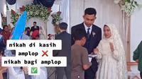 Viral Aksi Pengantin Bagi-bagi Amplop di Hari Pernikahannya, Bikin Salut (Sumber: TikTok/@nuurinuraini)