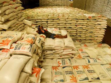 Pekerja berstirahat di tumpukan karung beras Bulog di Kelapa Gading, Jakarta, Kamis (27/2/2020). Jelang Ramadan dan Idul Fitri 2020 Perusahaan Umum Badan Urusan Logistik atau Perum Bulog siap mengamankan pasokan beras di seluruh wilayah Indonesia mencapai 1,7 juta ton. (merdeka.com/Imam Buhori)