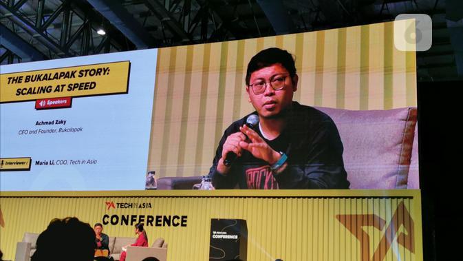 Pendiri dan CEO Bukalapak Achmad Zaky di konferensi regional Tech in Asia 2019 di Jakarta. Liputan6.com/Mochamad Wahyu Hidayat