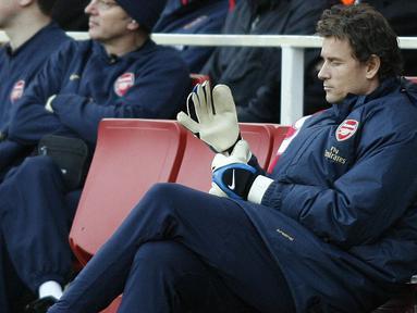 Jens Lehmann masuk dalam dafta kepelatihan baru Arsenal bersama Unai Emery. Jens Lehman di plot sebagai First-team coach. (AFP/Glyn Kirk)